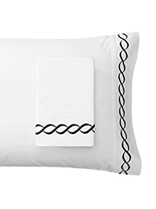 Mélange Pair of 600 TC Rope Embroidered Egyptian Cotton Pillowcases, Black, King