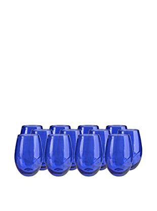 Artland Iris Set of 12 Stemless Tumblers, Cobalt Blue