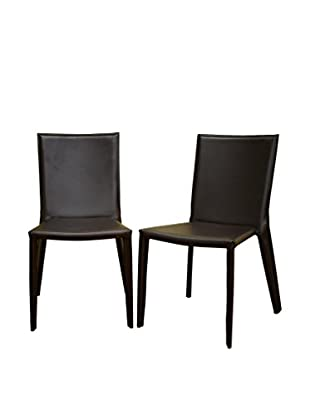 Baxton Studio Set of 2 Russo Dining Chairs, Brown