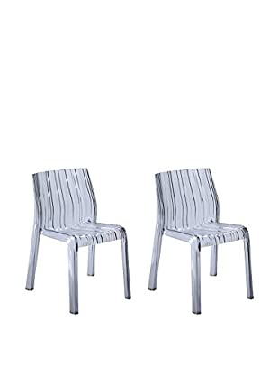 Manhattan Living Set of 2 Stripe Dining Chairs, Clear