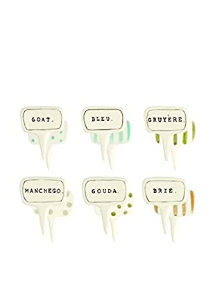 Rae Dunn by Magenta Set of 6 Cheese Markers, White