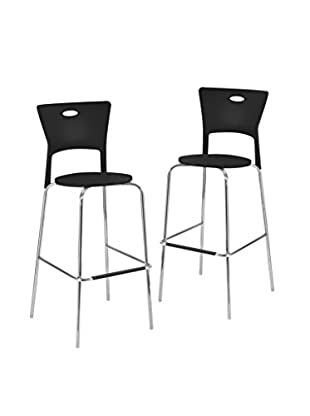 LumiSource Set of 2 Mimi Bar Stools, Black