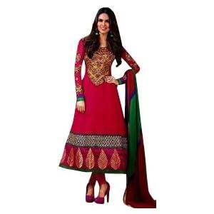 Esha Gupta Yellow & Rose Pink Georgette Top With Santoon Bottom & Chiffon Dupatta Zari Embroidery Work Anarkali Salwar Suit