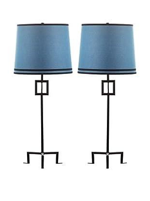 Safavieh Set of 2 Hanover Table Lamps, Black/Blue
