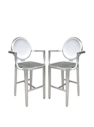 LeisureMod Set of 2 Modern Aluminum Counter Height Chairs, Silver