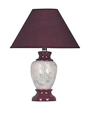 ORE International Marbled Ceramic 1-Light Table Lamp, Burgundy