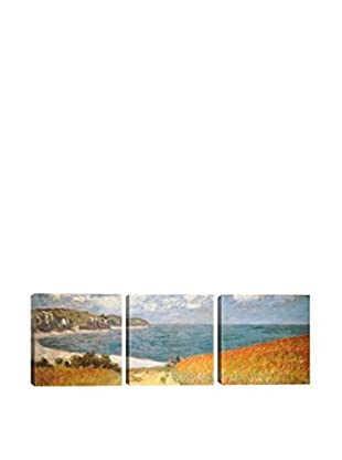 Claude Monet Path Through The Corn At Pourville (Panoramic) 3-Piece Canvas Print