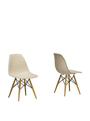 Baxton Studio Set of 2 Azzo Shell Chairs, Beige