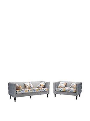 Baxton Studio Penelope Sofa and Loveseat Set, Grey/Floral Print