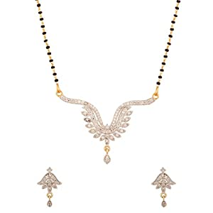 Voylla Single Chain Featuring Sparkling Locket with Leafy Details Mangalsutra Set for Women