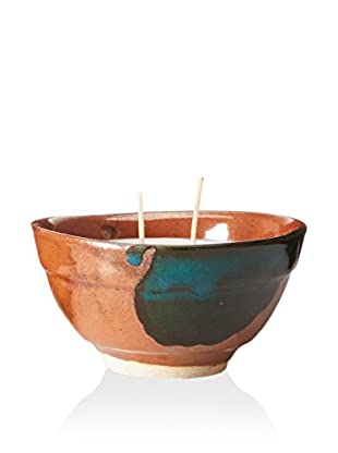 Yumscents 7-Oz. Soy Candle In Hand-Crafted Stoneware Pottery Bowl, Brown/Green