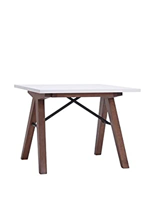 Zuo Modern Saints Side Table, Walnut/White