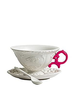 Seletti Porcelain I-Tea Set, White/Fuchsia