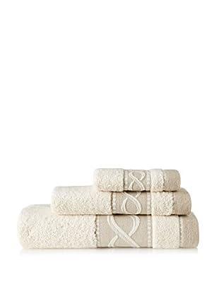 Belle Epoque 3 Piece Jacquard Rope Towel Set, Natural Linen