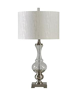 StyleCraft Steel & Glass 1-Light Table Lamp, Brushed Steel/Clear