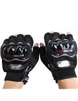 Autofurnish Motorcycle Bike Black Riding Finger Gloves