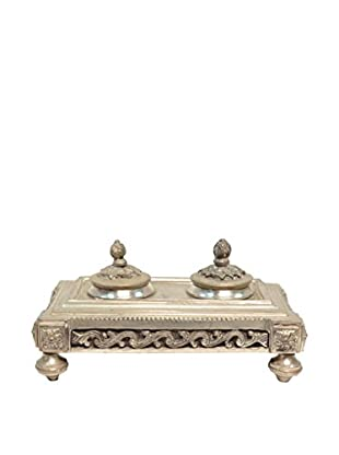 Vintage Silver-Plated Inkwell, Silver