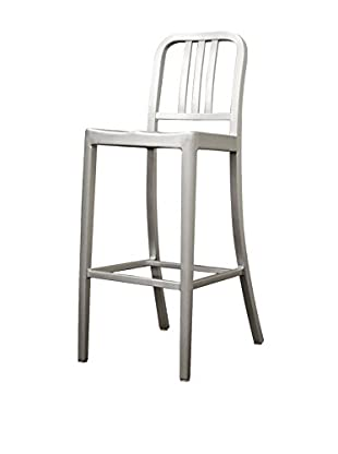 Baxton Studio Café Bar Stool In Brushed Aluminum, Silver