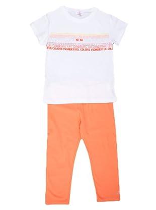 Naf Naf Chevignon Conjunto camiseta / legging Print (coral / blanco)