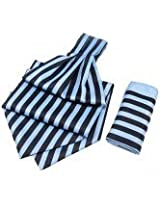 Blue With Navy Candy Strip Cravats With Pocket Square