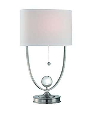 Lite Source Palma 1-Light Table Lamp, Polished Steel, Clear/White