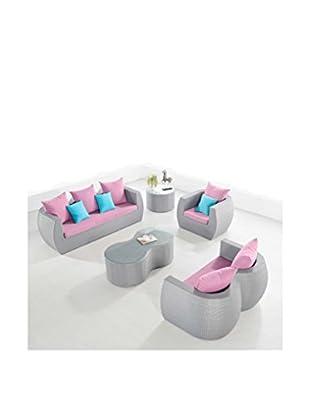 Ceets Clear-View 5-Piece Conversation Furniture Set, Grey/Lavender/Sky Blue
