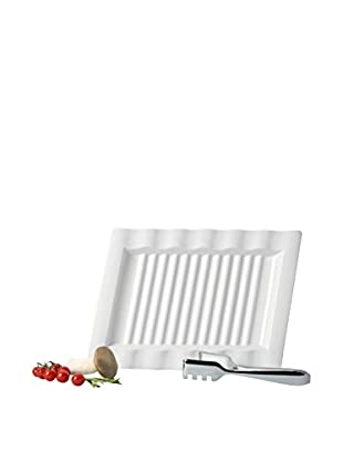 Villeroy & Boch Innova Grill Plate with Tongs, White