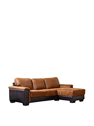 Abbyson Living Beverly Brown Sectional Sofa, Maple Almond