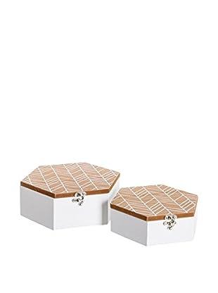 Chateau chic Aufbewahrungsbox 2er Set braun/weiß
