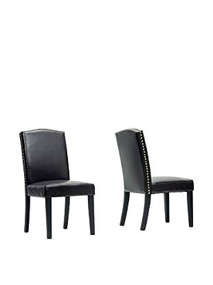 Baxton Studio Set of 2 Trullinger Dining Chairs, Dark Brown