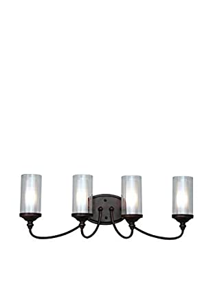Bel Air Lighting Fremont Double Glass 4-Light Wall Bar, Rubbed Oil Bronze