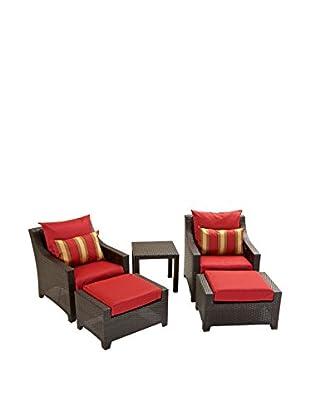 RST Brands Deco 5-Piece Club Chair & Ottoman Set, Red