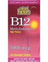 Natural Factors, B12, Methylcobalamin, High Potency, 5000 mcg, 60 Chewable Tablets