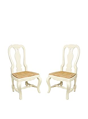 Pair of French Country Farm Chairs, White/Brown