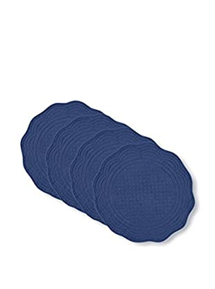 KAF Home Set of 4 Round Boutis Placemats, Navy