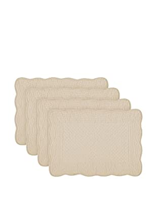 KAF Home Set of 4 Quilted Boutis Placemats, Flax