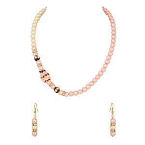Voylla Gold Plated Pearl Embellished Necklace Set With Cz; Meenakari Work