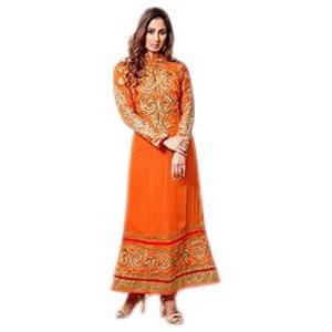 Sangeeta Ghosh Neck Designer Orange Embroidered Anarkali Suit