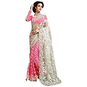 Lifestylefashionstore Half n Half Saree - Pink & Off-white