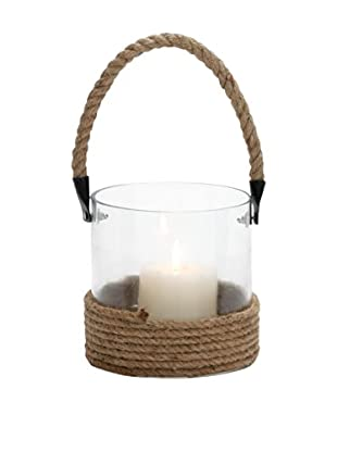 Wrapped Glass Lantern with Jute Rope