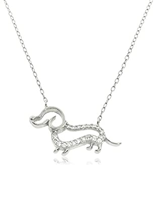 Diamonere Sterling Silver Dachshund Dog Necklace, One Size