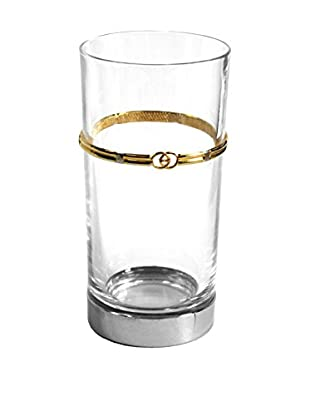 Gucci Logoed Small Vase, Clear/Gold