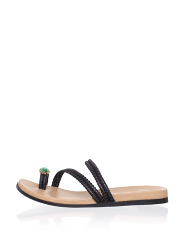 Lisa by Donald J Pliner Women's Gunta Flat Sandal (Black)