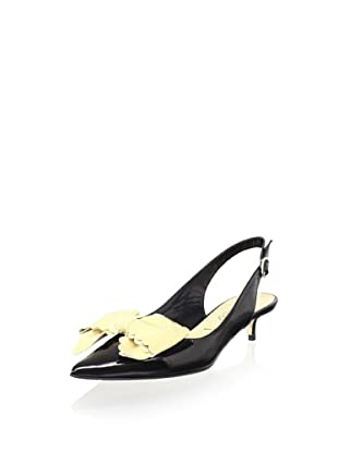 Butter Women's Sherwood Pointed-Toe Bow Slingback (Black/Nude)