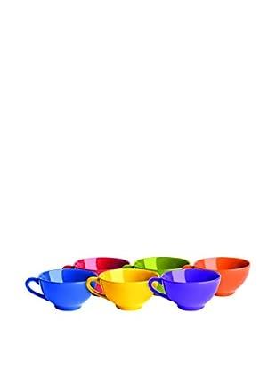 Brunch Time Cappuccinotasse 6er Set Maxi Jumbo Rainbow mehrfarbig