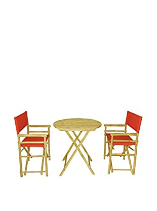 ZEW, Inc. Round Table & Director Chair Set, Red