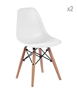 Lo+deModa Set De 2 Sillas Baby Wooden Blanco
