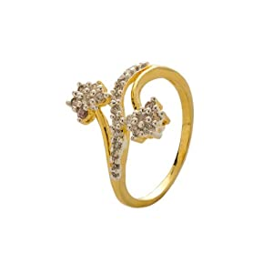 Voylla Twin Flower Gold Plated Ring Embellished With Cz Stones [Jewellery]
