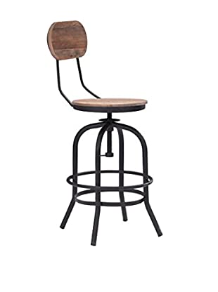 Zuo Modern Twin Peaks Industrial Counter Chair, Distressed Natural