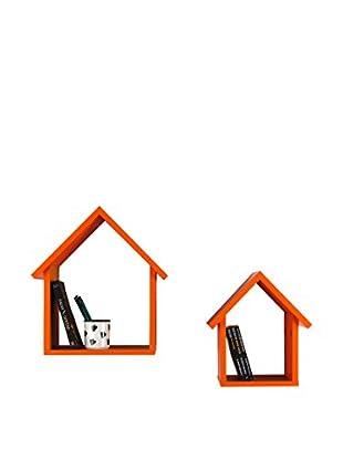 Decortie Estantería De Pared 2 Piezas Homey Naranja
